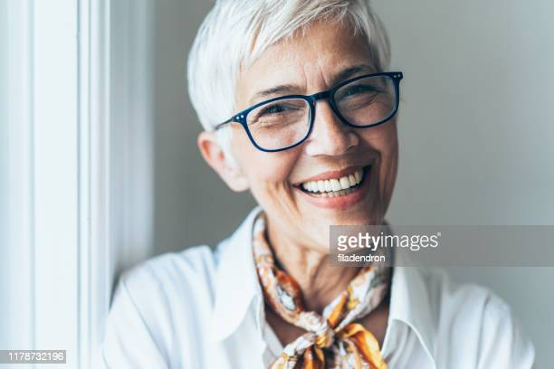 portrait of successful business woman - white hair stock pictures, royalty-free photos & images