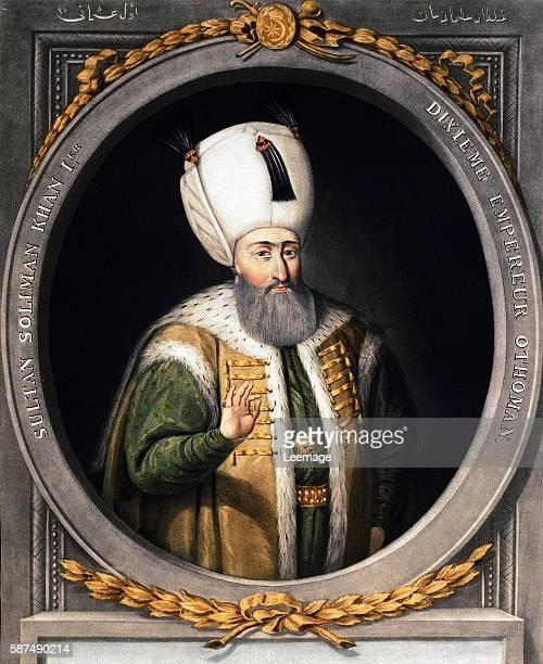 Portrait of Suleyman I 10th Sultan of the Ottoman Empire Miniature 16th century Topkapi Sarayi Museum Library Istanbul Turkey