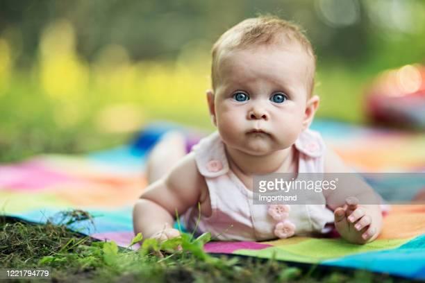 portrait of super cute baby girl on blanket in the back yard - cabeça humana imagens e fotografias de stock