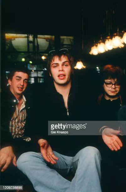 Portrait of Supergrass, Gaz Coombes, Mick Quinn, Danny Goffey, De Ultieme Hallucinatie, Brussel, Belgium, 16 April 1997.