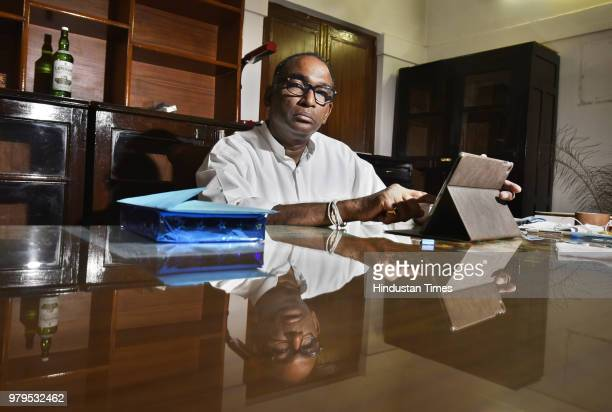 Portrait of Supreme Court judge Jasti Chelameswar at his residence in Tuglak Road on June 20 2018 in New Delhi India