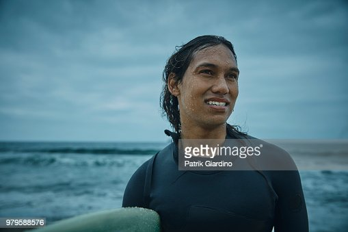 Portrait of Surfer prepare to surf