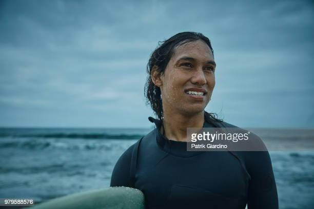 Portrait of Surfer prepare to surf