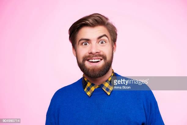 portrait of surprised and funny man. debica, poland - décalé photos et images de collection