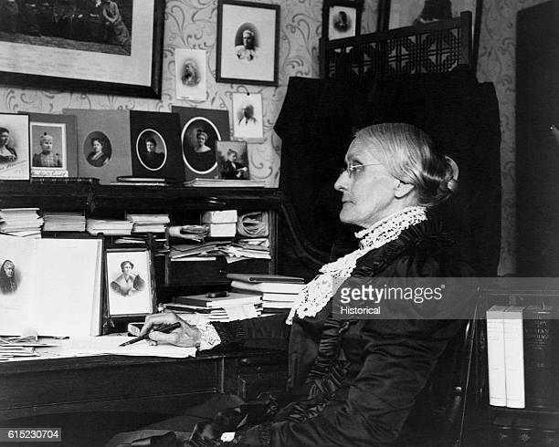 Portrait of Susan B Anthony seated at a desk Anthony was a leader in the abolitionist and women's suffrage movements