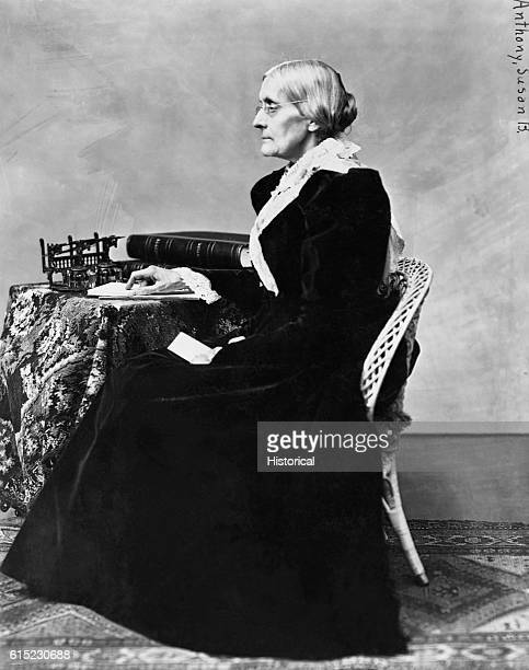 Portrait of Susan B. Anthony seated at a desk. She was a leader in the suffragist and abolitionist movements.