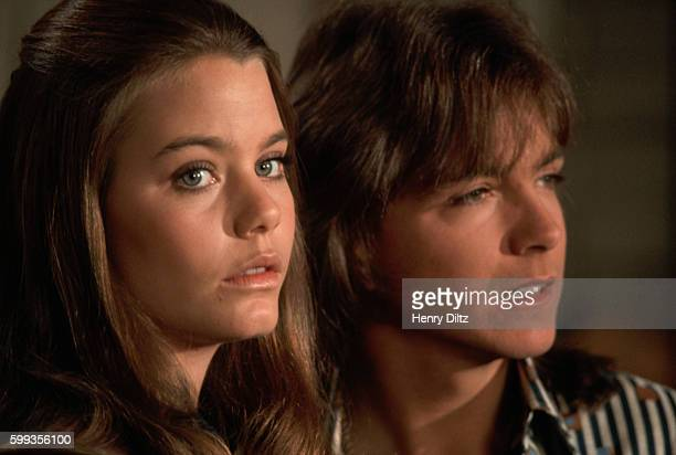 Portrait of Susan Dey and David Cassidy costars on the television show The Partridge Family