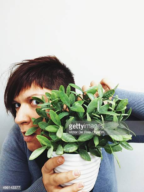 Portrait of suspicious young woman hiding behind potted plant over white background