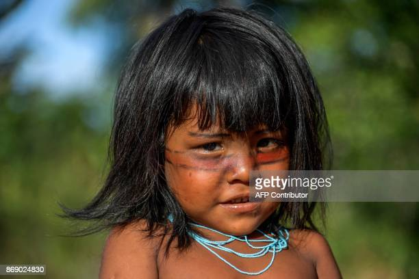 Portrait of Suwerika Waiapi in the Waiapi indigenous reserve in Amapa state in Brazil on October 14, 2017. The tiny Waiapi tribe is resisting moves...
