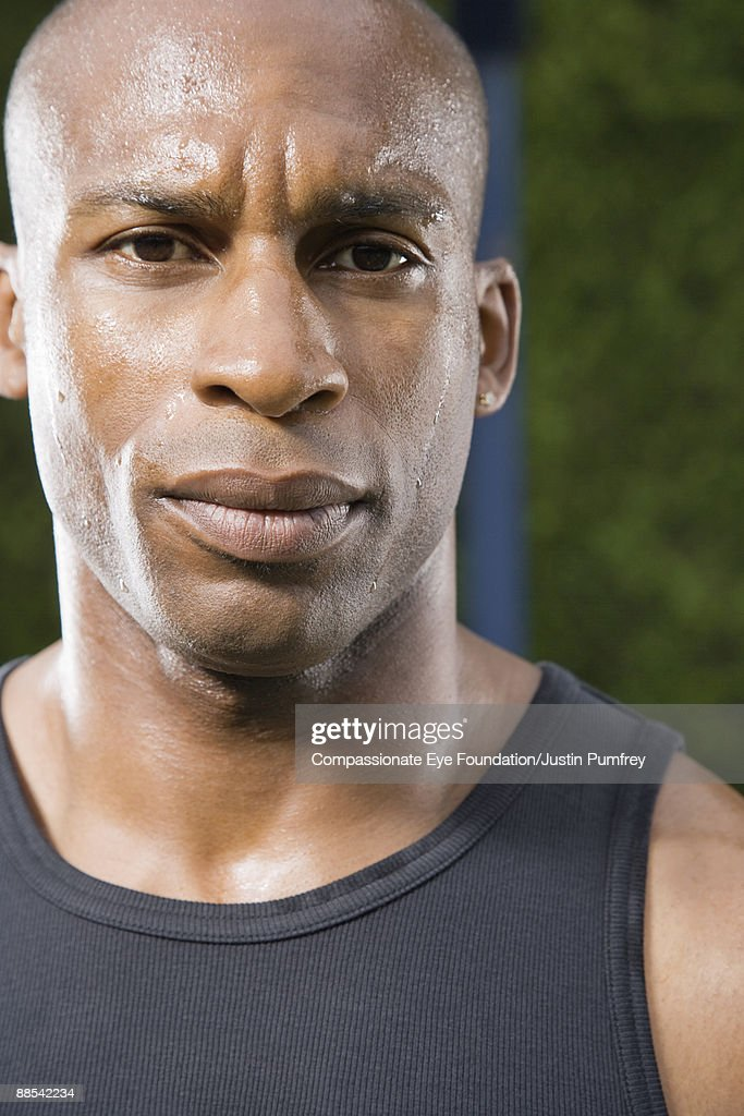 portrait of sweating man : Stock Photo