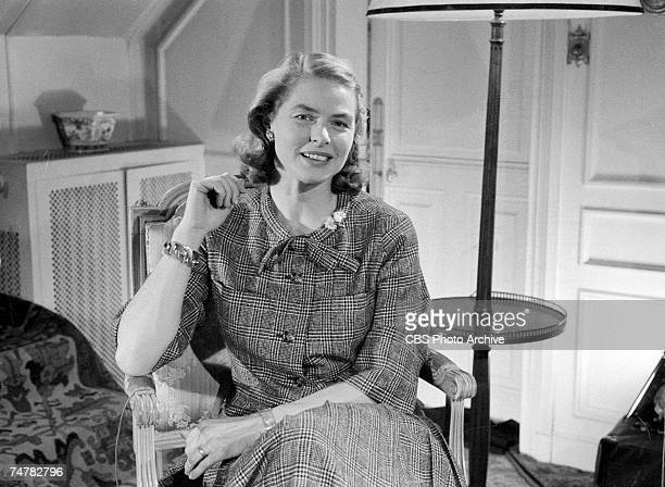 Portrait of Swediah actress Ingrid Bergman during the filming of an episode of 'Small World' March 1959 The program featured simultaneously filmed...