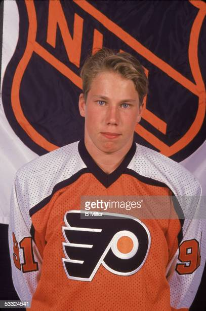 Portrait of Swediah hockey player Peter Forsberg wearing a Philadelphia Flyers jersey at the NHL Entry Draft 1991