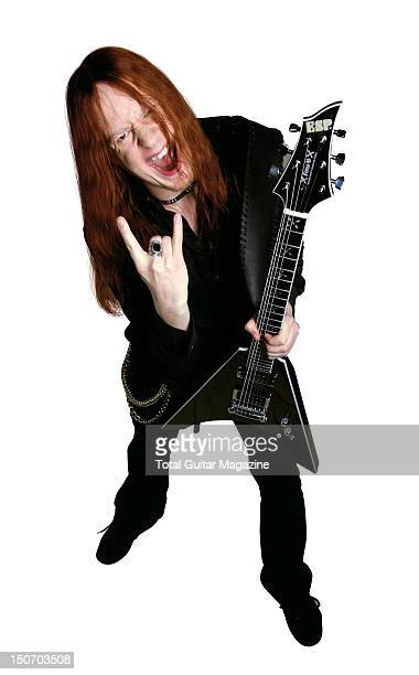 This image has been digitally manipulated Portrait of Swedish guitarist Michael Amott taken on November 7 2007 Amott is best known as a member of...
