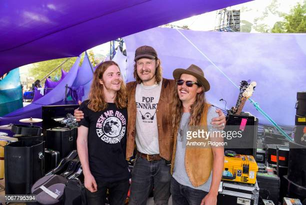 Portrait of Swedish musician Daniel Norgren with bandmates Anders Grahn and unknown backstage at Pickathon festival in Happy Valley Oregon on 5th...