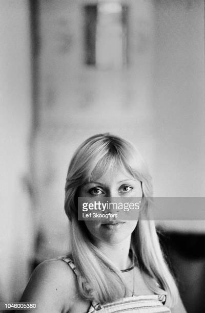 Portrait of Swedish Pop musician Agnetha Faltskog of the group ABBA Stockholm Sweden July 1977