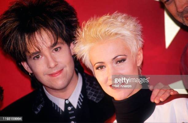 Portrait of Swedish Pop musicians Per Gessle and Marie Fredriksson of the group Roxette as they pose during an award ceremony at Rotterdam Ahoy arena...