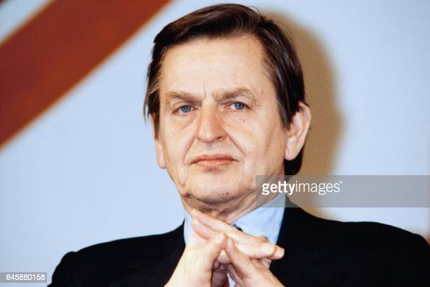 Portrait of Swedish Prime Minister Olof Palme as he attends a colloquium organized by french Socialist Party called Meeting with actors of change on...