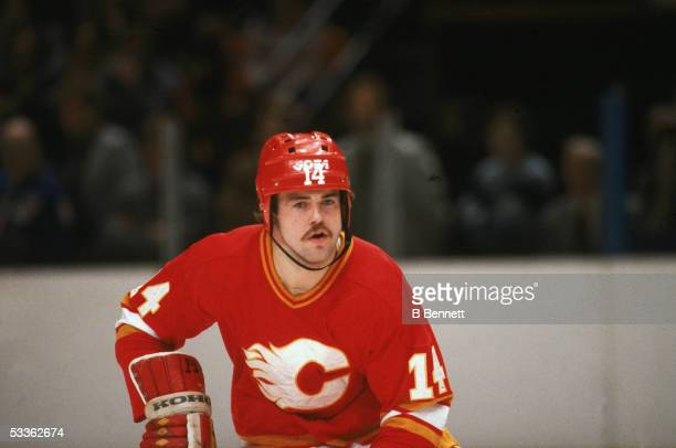 Portrait of Swedish professional hockey player Kent Nilsson of the Calgary Flames during a road game against the Rangers at Madison Square Garden New...