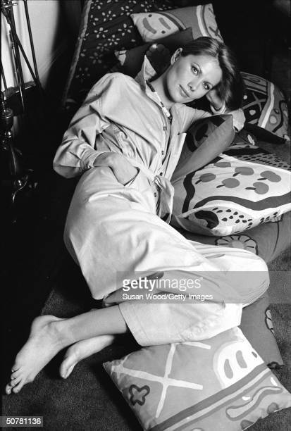 Portrait of Swedishborn actor and model Maud Adams laying on a sofa 1970s