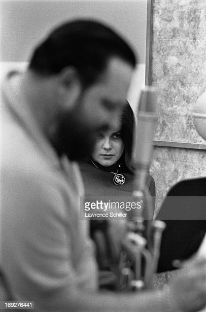 Portrait of Swedishborn American actress AnnMargret and American jazz musician Al Hirt in the studio during a recording session for their album...