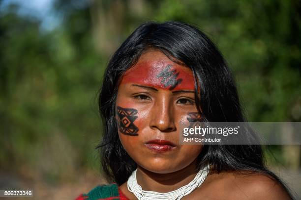 Portrait of Sykyry Waiapi in the Waiapi indigenous reserve in Amapa state in Brazil on October 14 2017 The tiny Waiapi tribe is resisting moves by...