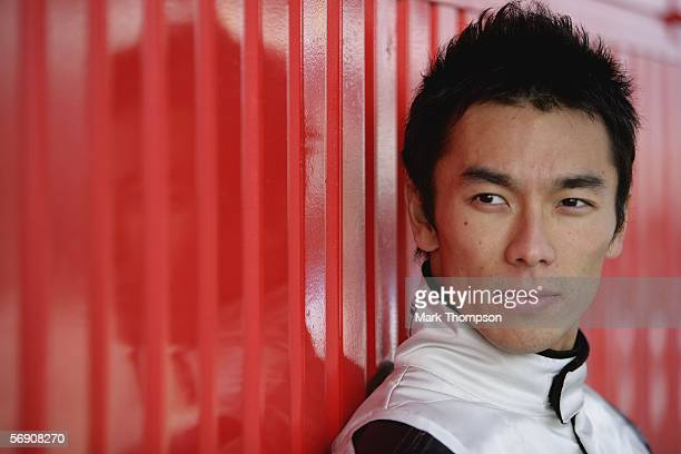A portrait of Takuma Sato of Japan and team Super Aguri F1 during Formula One testing at the Circuit De Catalunya on February 22 2006 in Barcelona...