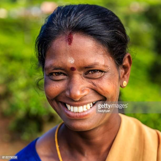 Portrait of Tamil  tea picker. Sri Lanka.