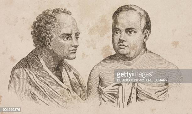 Portrait of Taufa'ahau and Palou, Tonga Islands, engraving by Danvin and Montant from Oceanie ou Cinquieme partie du Monde, Revue Geographique et...