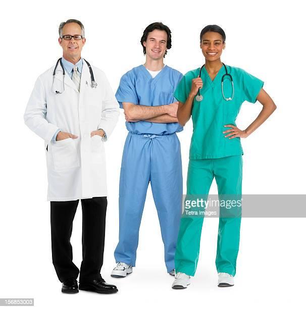 Portrait of team of healthcare workers, studio shot