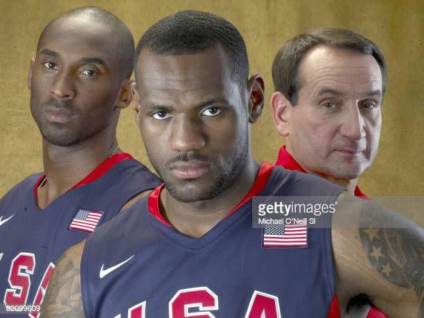 Portrait of Team USA Basketball players LeBron James Kobe Bryant and coach Mike Krzyzewski