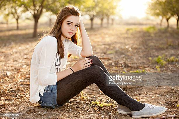 portrait of teen girl - stocking tops stock photos and pictures