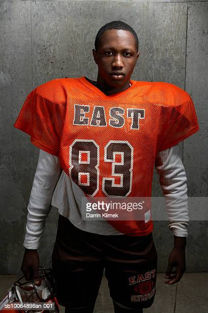 portrait of teenage (14-15) american football player - safety american football player stock pictures, royalty-free photos & images