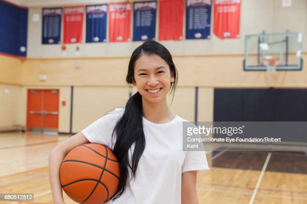 Portrait of teenage basketball player in gym