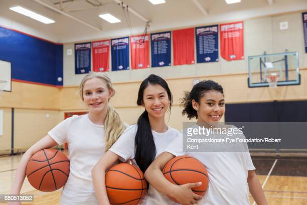 Portrait of teenage basketball players in gym