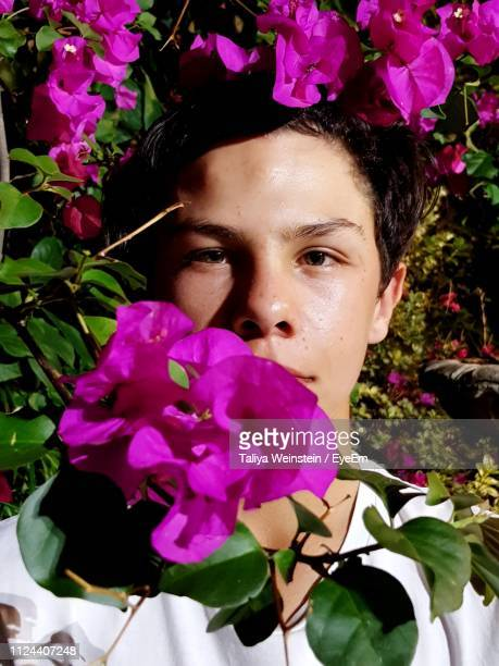 portrait of teenage boy amidst pink flowers - weinstein stock pictures, royalty-free photos & images