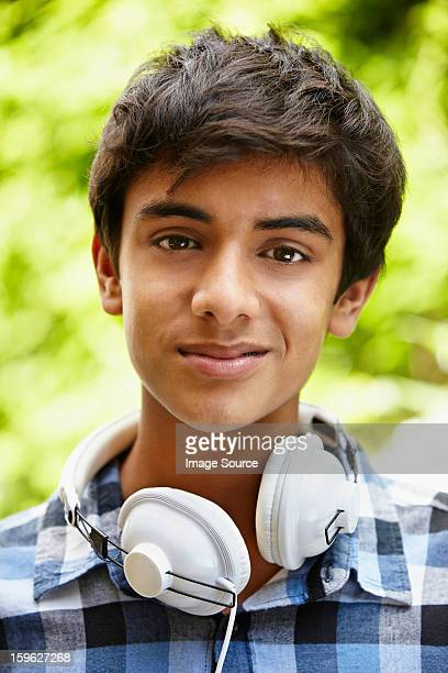 Portrait of teenage boy with headphones