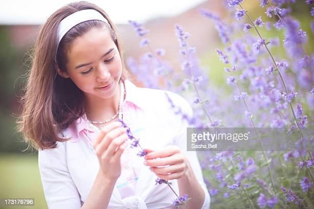 portrait of teenage girl by purple catmint - catmint stock pictures, royalty-free photos & images
