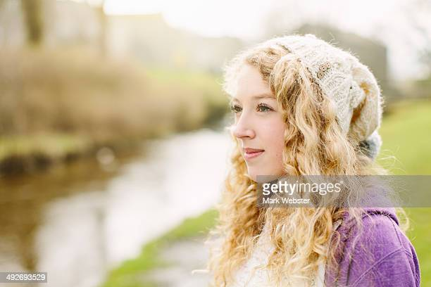 portrait of teenage girl by rural river - the webster stock pictures, royalty-free photos & images