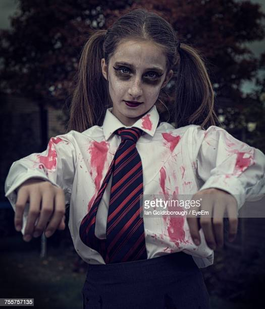 portrait of teenage girl dressed as zombie - zombie girl stock photos and pictures
