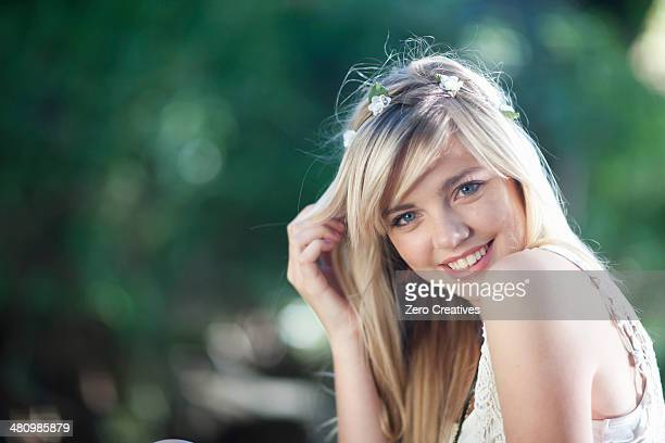 Portrait of teenage girl in woodland