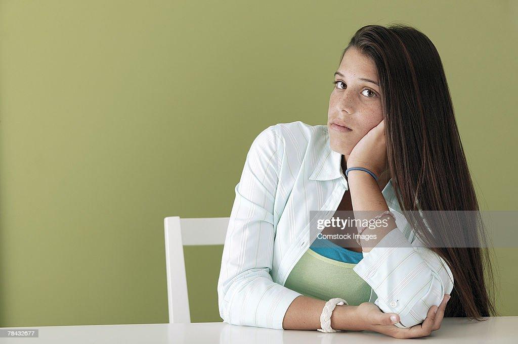 Portrait of teenage girl : Stockfoto