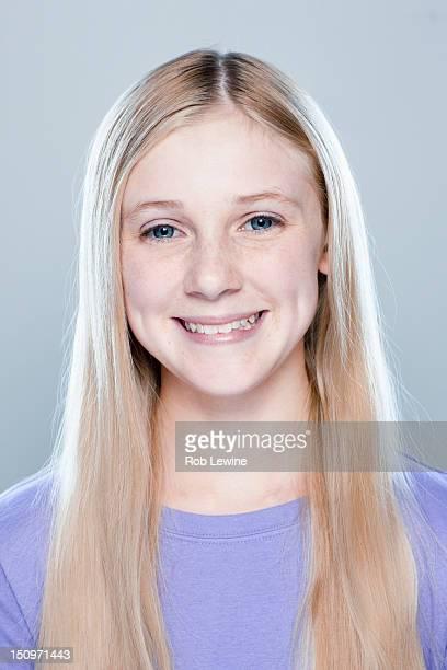 Portrait of teenage girl (14-15), studio shot