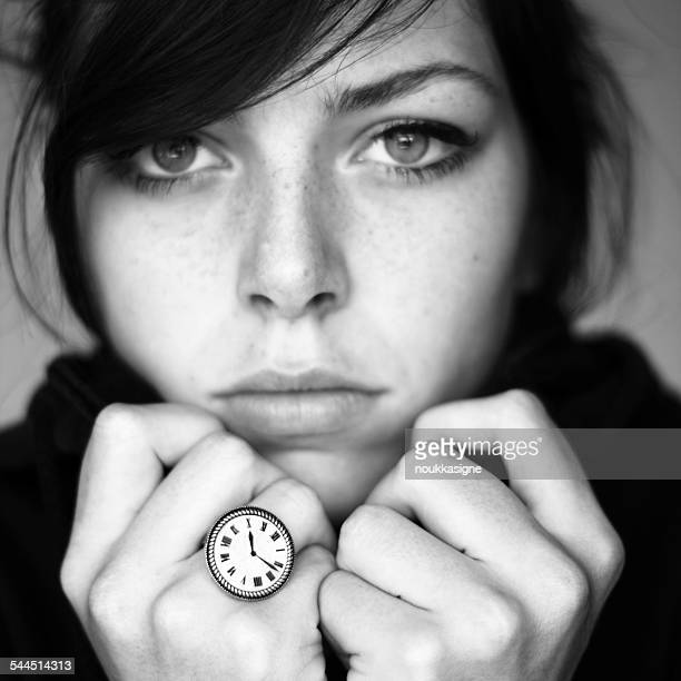 portrait of teenage girl with time ring - one teenage girl only stock pictures, royalty-free photos & images