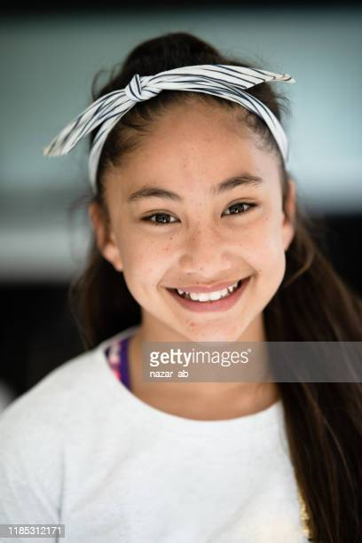 portrait of teenager pacific island girl. - minority groups stock pictures, royalty-free photos & images