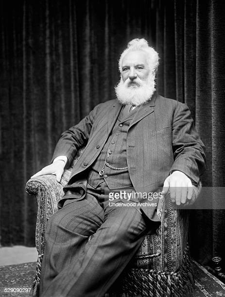 A portrait of telephone inventor Alezander Graham Bell circa 1918