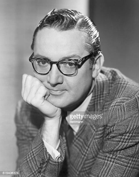 Portrait of television personality Steve Allen with his chin resting on his hand. He hosted the 1950s TV series, The Steve Allen Show. Undated...