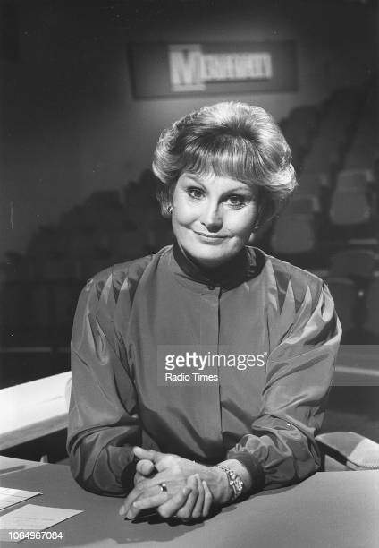Portrait of television presenter Angela Rippon on the set of the television quiz show 'Masterteam' August 31st 1985 First printed in Radio Times...