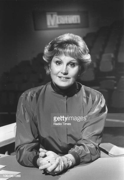 Portrait of television presenter Angela Rippon on the set of the television quiz show 'Masterteam' August 31st 1985