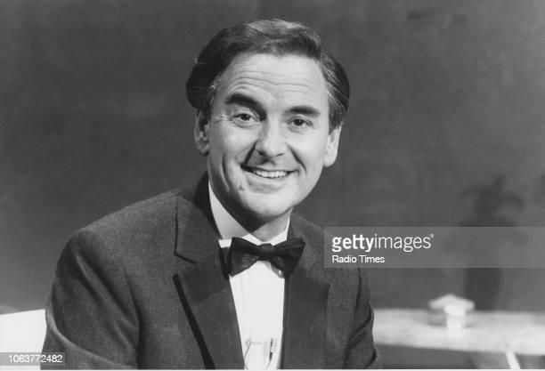 Portrait of television presenter Bob Monkhouse on the set of the television show 'The Bob Monkhouse Show' January 29th 1985
