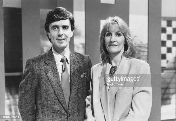 Portrait of television presenters Lynn Faulds Wood and John Stapleton on the set of the BBC show 'Watchdog' November 20th 1989